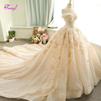 Fmogl Charming Boat Neck Appliques Chapel Train Ball Gown Wedding Dress 2019 Luxury Beaded Flowers Bridal Gown Vestido de Noiva