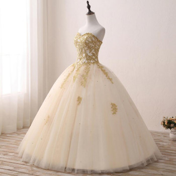Fansmile Vintage Golden Lace Up Ball Wedding Dresses 2019 Real Photo Robe de Mariee Customized Plus Size Bridal Gowns FSM-343F