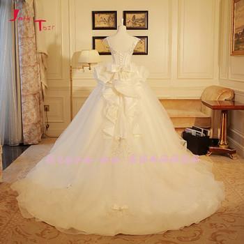 Jark Tozr Custom Made Bow Bridal Gowns With Petticoat Vestidos de Novia Sparkly Crystal Pearls Wedding Dress 2019 Robe De Mariee