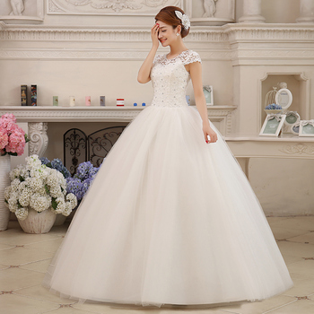 Fansmile Real Photo Cheap Short Sleeve Ball Wedding Dresses 2019 Lace Vintage Plus Size Bridal Gown Vestido de Noiva FSM-038F
