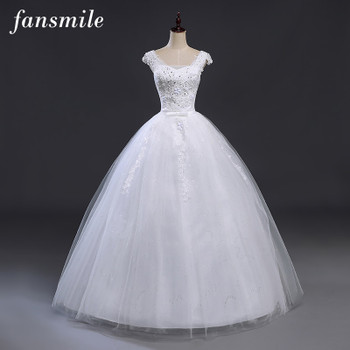 Fansmile Bridal Ball Gowns Plus Size Lace Up Wedding Dresses 2019 Double Shoulder Vintage Vestidos Noiva Robe de Mariee