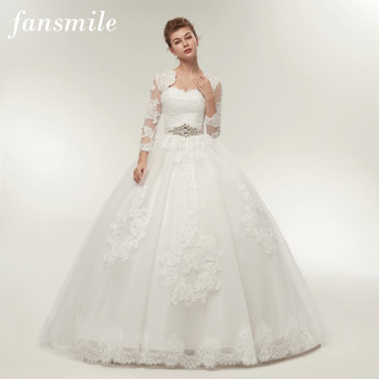 Fansmile Two Piece Long Sleeve Jacket Wedding Dresses 2019 Plus Size Bridal Ball Gowns Vestido de noiva Robe De Mariage FSM-122T