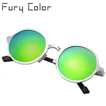 Aluminium Steampunk Round Sunglasses Men Women Anti-UV Polarized Metal Frame Retro Sun Glasses driving Mirror gafas de sol