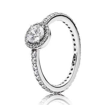 100% 925 Sterling Silver Pan Ring Pave Classic Elegance With Crystal Rings For Women Wedding Party Gift Fine Jewelry