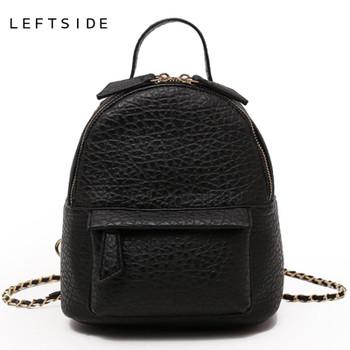 LEFTSIDE Female Small Backpack Women Crossbody Bags Ladies PU Leather Back Pack Simple Style Backpacks For Girls Travel Bagpack