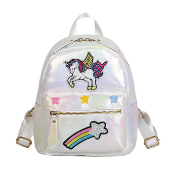 Unicorn Women Leather Backpack Rainbow Sequins Back Pack Bags Fashion Schoolbag For Teenager Girls Travel Mini Mochila New 2018