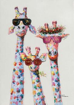 Handmade Modern Textured Cartoon Painting Animal Giraffe Oil Painting On Only Canvas
