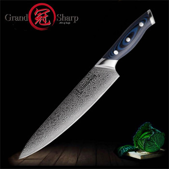 8'' Japanese Damascus Stainless Steel Chef Knife 67 Layers VG-10 Steel Damascus Kitchen Chef Knife G10 Handle with Gift Box Hot