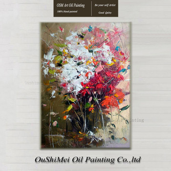 Handmade Red Knife Flower Painting Abstract Paintings on Canvas New Style Still Life Painting Hang Picture Decor Oil Painting