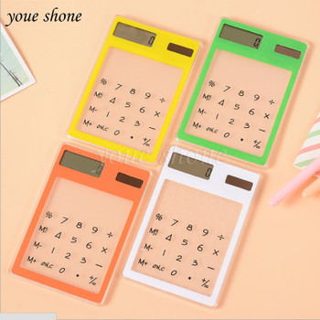 LCD 8 Digit Touch Screen Solar Mini Calculator Transparent Multifunction Ultra-thin Calculadora for Office Supplies Student