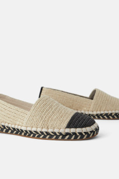 ZARA NATURAL ESPADRILLES WITH CONTRAST TOE CAP