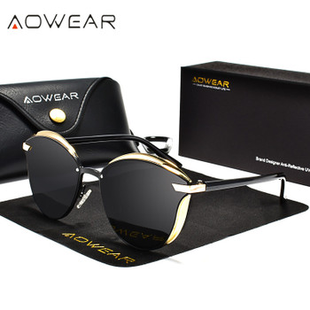 AOWEAR Fashion Cat Eye Sunglasses Women Polarized Luxury Quality Mirror Cateye Sun Glasses Ladies UV400 Eye Protective Shades