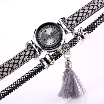 Duoya Brand Fashion Watch Women Classic Bracelet Silver Original Design Tassel Pendant Wristwatches Leather Vintage Quartz Watch