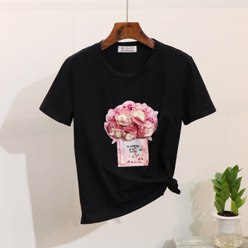 2019 Spring Summer Women t shirt short-sleeve 3D floral bottle tshirt cotton tops