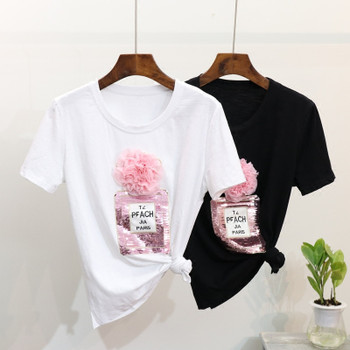 2018 Spring Summer t shirt 3D floral sequins Bottle tshirt cotton tops women T shirt