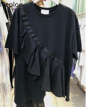 Neploe Ruffles Patchwork Women T Shirts Summer 2019 Fashion O-Neck Short Sleeve Ladies Tees Irregular Loose Cotton Tees 44106