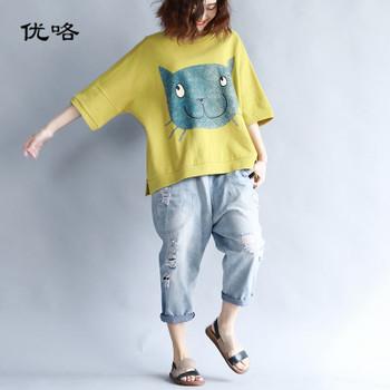 2019 Summer Women Korean Cotton T Shirt Kawaii Cartoon Cat Print Tshirt Women Plus Size Casual Loose Tee Shirt Femme 4XL 5XL 6XL
