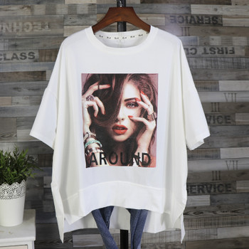 Factory Direct Sale Summer Short Sleeve Large Size T shirt Tops Female All-match Medium Cotton Tshirt Beauty Printed Side Fork