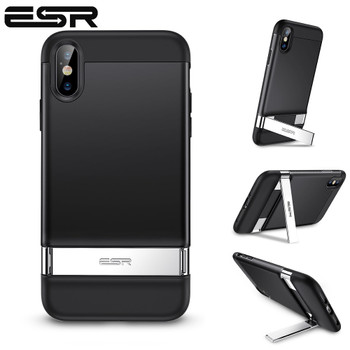 ESR Case for iPhone XS XR XS Max Metal Kickstand Case Vertical and Horizontal Stand Hard PC Bumper Cover for iPhone XS XR XS Max