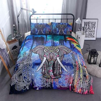 Home Textile 3D Mandala Elephant bedding set Single Double Queen Size Boho Bed Linen Duvet Cover Bed Sheet Pillowcase/bed Sets