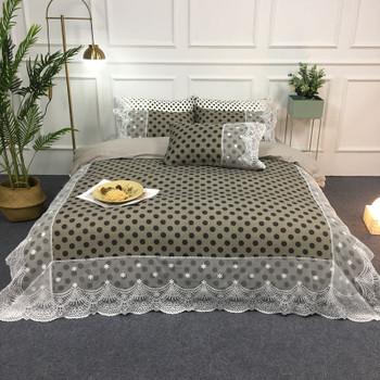 Satin Cotton White Lace Duvet Cover Set Queen King Size 4Pcs Black Gray Dot Circle Leopard Bedding Set Bed sheet Pillow shams