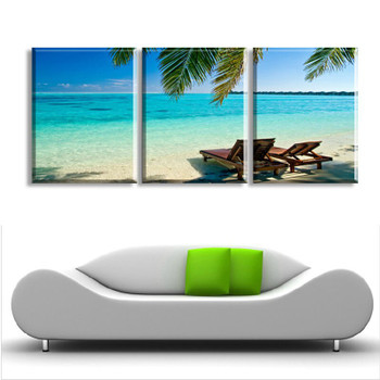 3 Panels Hot Modern Blue Sea Picture Decorative Canvas Painting Living Room Landscape Paint Wall Hanging