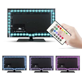 "BASON USB Powered RGB LED TV / Monitor Backlighting LED mood Light for 32' 40' 43"" 48"" 50"" 55"" 60"" TV with IR Remote Controller"