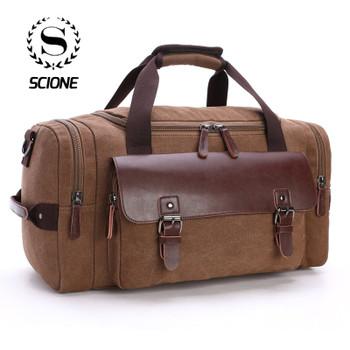 Scione Men Large Capacity Canvas Crossbody Travel Bags Practical Weekend Luggage Duffel Bag Women High Quality Shoulder