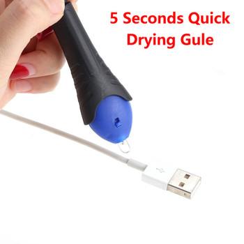 2PCS/Lot Useful 5 Second Quick Fix Liquid Glass Welding Compound Glue Pen UV Light Repair Tool Refill Tools
