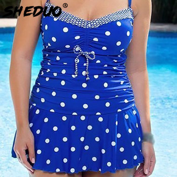 Dots Print Swimwear Brazilian Monokini Skirt Swimsuit Women Bodysuit Plus Size Swimsuit 2017 Vintage Retro Bathing Suit bikinis