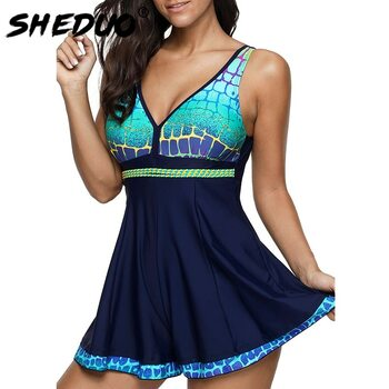 SwimSuit women print 2018 New Dress bathing suit push-up swimwear sexy Beach Wear femme Plus Size Backless one piece monokini