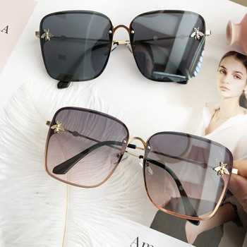 HBK Luxury Square Bee Sunglasses Women Men Retro Brand designer Metal Frame Oversized Sun Glasses Female Grandient Shades Oculos
