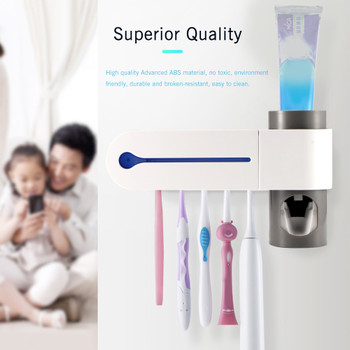 ABEDOE 2 In 1 UV Toothbrush Sterilizer Toothbrush Holder Automatic Toothpaste Squeezers Dispenser Home Bathroom Set