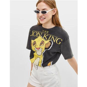 Lion Cartoon Printed 2019 Women Cotton T-shirt Summer Casual Short Sleeve O-Neck Brand T-shirt Ladies Gray Cute Tee Top