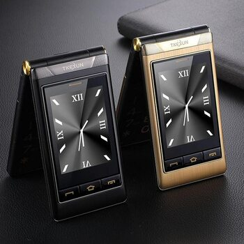 3G WCDMA Unlock Tkexun Flip Dual Display Senior Mobile Phone SOS Fast Call Vibration Russian Key Whatsapp Facebook For Elderly