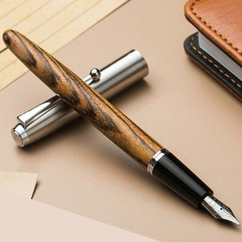 Jinhao Wood Fountain Pen 0.38/0.5/0.8mm Iridium Vulpen Writing Pluma Feather Parallel Pen Office School Art Supplies Stylo