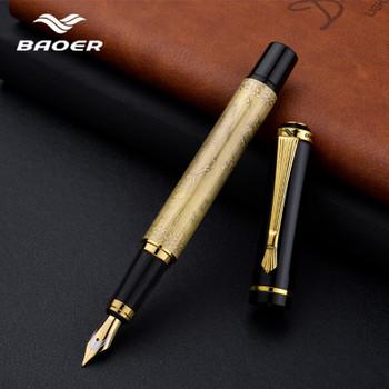 High quality metal pen baoer fountain pen luxury pluma fuente stylo plume luxury gift stationery ink pen boligrafos de marca luj