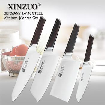 XINZUO 4 PCS Kitchen Knife Set Stainless Steel German 1.4116 Steel High Quality Chef Santoku Nakiri Boning Knives Ebony Handle