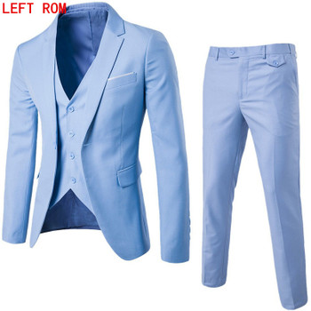 Luxury Men Wedding Suit Male Blazers Slim Fit Suits For Men Costume Business Formal Party Blue Classic Black