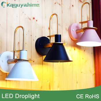 Kaguyahime Wooden Wall Lamp Nordic Sconce Simple creative wall light led bulb E27 110V 220V bedroom decoration Modern designer