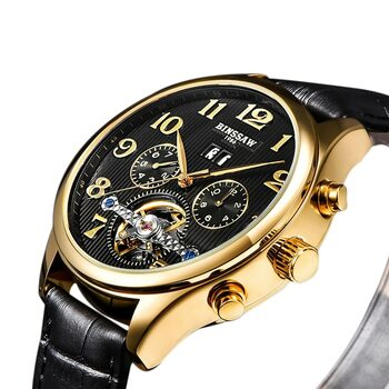 BINSSAW Men Original Luxury Brand Tourbillon Automatic Mechanical Watches Fashion Leather Watch Business Gifts Relogio Masculino