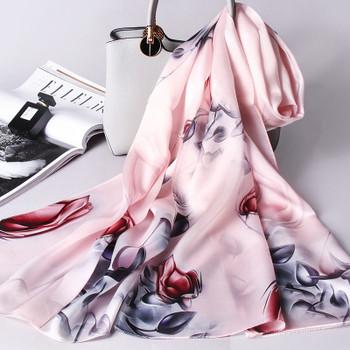 100% Real Silk Scarf Women Echarpe 2019 Hangzhou Pure Silk Shawls and Wraps for Ladies Foulard Printed Natural Long Silk Scarves