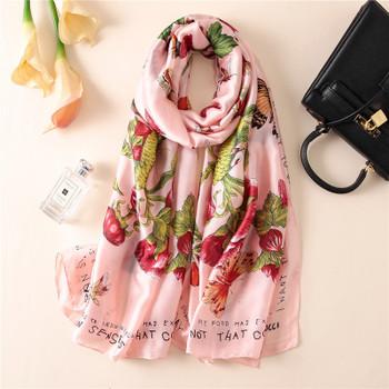 Soft 100% Natural Silk Scarf Women Luxury Brand Print Butterfly on Floral Pashmina Shawl Femme Long Bandana Bufanda Foulard New