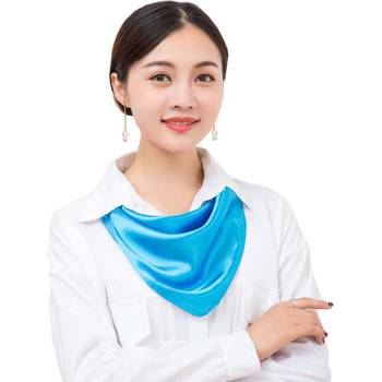 New Solid Silk Scarf Women Square Hair Tie Band Lady Elegant Small Vintage Skinny Scarf Winter Head Neck Satin Scarf 58*58cm