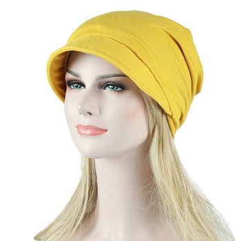 Autumn Cotton Hat Visor for Women Winter Beanie Korean Style Solid Chemo Hat Spring Travel Cap Fishermen Hat Breathable