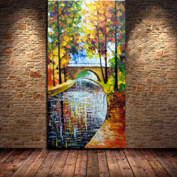 100% Hand Painted Small Bridge Flowing Water Trees Knife Oil Painting On Canvas Wall Art Picture Painting Living Room Home Decor