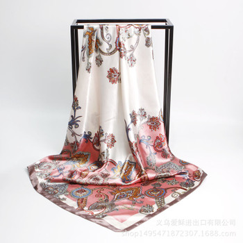 2018 40 colors 90cm*90cm New Luxury Print Brand Frame Plaid Striped Women Twill Silk Scarf Small Square Scarves Hijab Headband