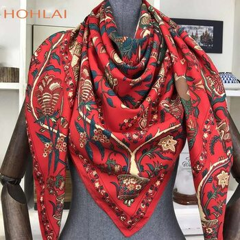 100% Twill Silk Scarf Women Large Shawls Floral Print Stoles Square Bandana Luxury Brand Kerchief Scarves Female Foulard 130*130