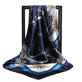 90*90cm Hijab Head Scarf Women Fashion Leopard Chain Print Square Scarves Spring Autumn Silk Scarves Printed Shawls