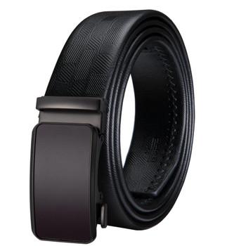 Hi-Tie Business Style Men's Genuine Leather Automatic Buckle Belt Strap Black 150cm Long Fashion Alloy Buckle Wedding Belts